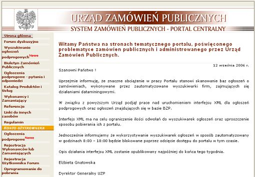 screenshot portalu UZP
