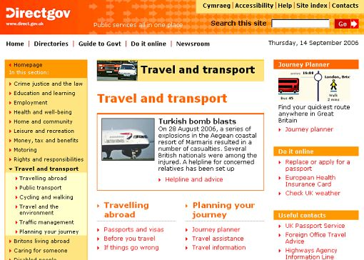 Screenshot części Travel and transport w serwisie Directgov