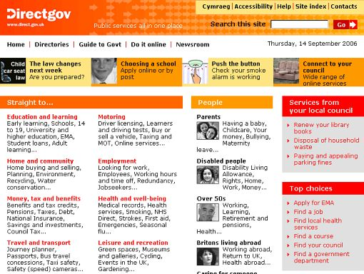 Screenshot Directgov - Public services all in one place