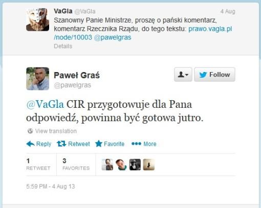 screenshot z serwisu Twitter: deklaracja przygotowania komentarza do tekstu o sadzeniu sztucznej trawy p. rzecznika prasowego rządu