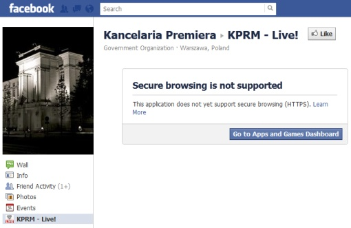 screenshot serwisu Facebook z komunikatem, że Secure browsing is not supported
