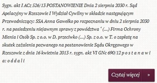 fragment zrzutu ekranu pokazującego prezentację orzeczenia I ACz 526/13 - Sąd Apleacyjny w Rzeszowie I Wydział Cywilny
