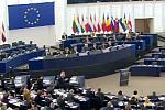widok na salę plenarną Parlamentu Europejskiego