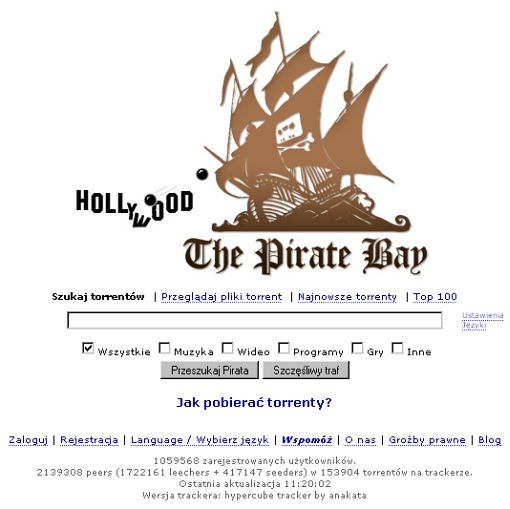 screenshot serwisu ThePirateBay.com