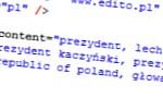 fragment zrzutu ekranu pokazujący meta dane strony prezydent.pl