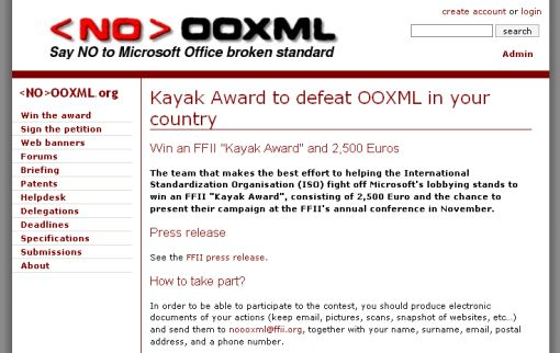 Screen: Kayak Award to defeat OOXML in your country