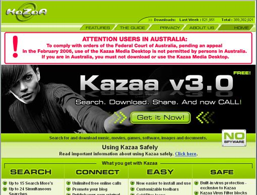 screenshot kazaa.com