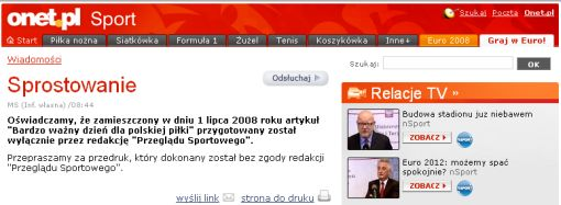 screenshot sprostowania Onetu