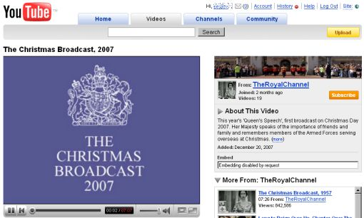 screen serwisu YouTube z klipem The Christmas Broadcast, 2007