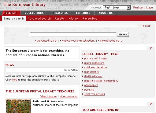 The European Library is for searching the content of European national libraries