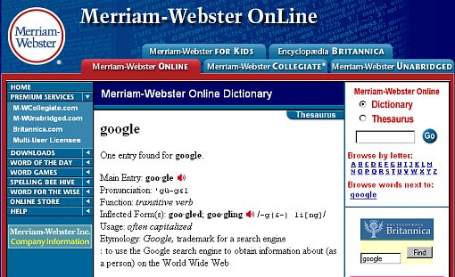 Screenshot Merriam-Webster Online Dictionary