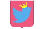Logo Twittera w koronie i na tarczy heraldycznej