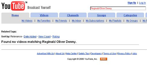 YouTube:  Found no videos matching Reginald Oliver Denny.